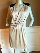 NWT Kardashian Kollection Gold Metallic gathered waist Dress Size L Black detail