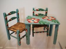 Vintage Mexican Hand made/painted Beautiful Decorative Mini Table And Chair Set