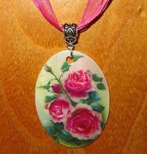 original Rusa Pequeña Giclee Estilo Rosa Flores colgante concha Bonito Regalo