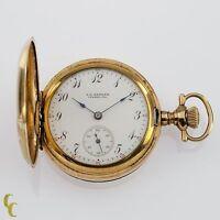 Gold Filled Women's Elgin Full Hunter Pocket Watch 7 Jewel Size 0S 1908