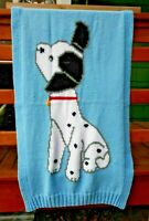 Hand-Knit Baby Blanket Blue with White/Black Spotted Puppy Dog