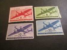 FOUR [4] MNH U.S. AIR MAIL STAMPS. C-25-26-27-30. LOT F-5.