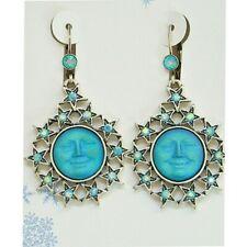 Kirks Folly Seaview Moon Starshine Leverback Earrings ST & Aqua AB Glass Moon