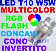 10 Lampadine luci LED RGB MULTICOLOR T10 W5W FLASH VELOCI FAST CONCAVI INVERTITI