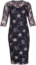 Ladies Plus Size Floral Lace Foil 3/4 Three Quarter Sleeves Bodycon Dress 14-28