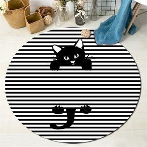 Black White Striped Funny Black Cat Round Kids Play Carpet Floor Mat Area Rugs