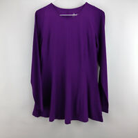 Denim & Co. Fit and Flare Curved Hem Crew Neck Tunic Bright Purple XXS A301103