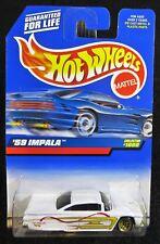 1999 Hot Wheels White '59 Impala Card #1000 Chevy Hw-32-091617
