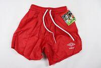 Vtg 80s New Umbro Youth Medium Spell Out All Over Logo Nylon Soccer Shorts Red