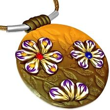 Fashion Fimo Polymer Clay Flower Circle Charm Necklace with Gem Stones FPA156