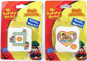Mr. & Mrs. Potato Head Magic Washcloths Set of 2 Bath Wash Face NEW Basic Fun