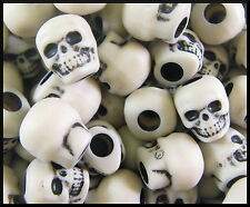 100 Skull Antiqued Ivory Beads The Beadery 9 mm x 13 mm ABCraft Made in USA