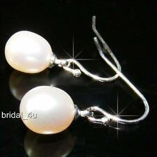REAL Large 8-9mm White Freshwater Pearls Drop Hallmark 925 Silver Earring E146