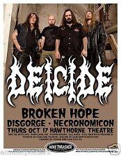 DEICIDE / BROKEN HOPE /DISGORGE 2013 PORTLAND CONCERT TOUR POSTER - Metal Music