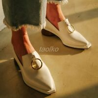 Retro Personalized Womens Square Toe Med Block Heel Slip On Pumps Party Shoes