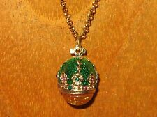 FABERGE inspired ENAMEL Swarovsky Crystals Green CROWN Amber EGG pendant chain