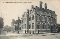 EARLY 1900's VINTAGE DOULLENS - ECOLE COMMUNALE et RUE de la GARE POSTCARD