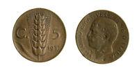 pci7697) Vittorio Emanuele III (1900-1943) 5 cent Spiga 1937 - DIFETTI