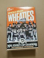 Wheaties Pittsburgh Penguin 1991 Stanley Cup Cereal Box In Clear Plastic box
