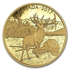 "Canada 2017  $350 Iconic Canadian Animals Majestic Elk ""5"" Pure Gold Coin"