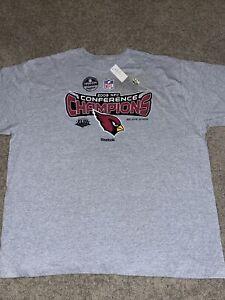 VTG Reebok Arizona Cardinals 2008 NFC Champions T shirt Locker Room Mens NWT XL