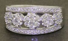 14K white gold elegant high fashion 1.0CT diamond cluster cocktail ring size 6