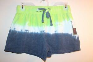 NEW NoBo No Boundaries Junior's Tie Dye Drawstring Shorts Green white and blue