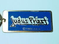 JUDAS PRIEST VINTAGE 1980's ROCK & ROLL METAL KEY CHAIN NOS N/M -Blue Version