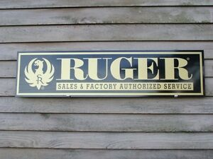 """EARLY STYLE STURM RUGER FIREARMS DEALER SIGN/AD 1'X46"""" ALUM. PANEL W/EAGLE LOGO"""
