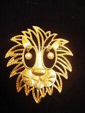 Lion Face Head Pin Big Mane w/ Faux Pearl Dangle Eyes Leo Zodiac