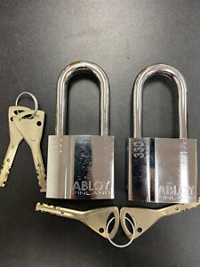 (2) ABLOY PL330/50T PROTEC2 HIGH SECURITY PADLOCKS W/ 4 KEYS AND KEY CODE CARD