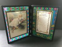 Vintage Faux Stained Glass Baptismal Glass Remembrance Frame, FREE SHIPPING!