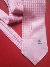 Men's LOUIS VUITTON LV suit TIE 100% SILK ITALY Pink Grey Logo monogram