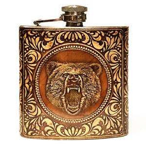"""BIRCH BARK Steel Flask """"Bear"""", for Hip Liquor, Whiskey, Vodka, 6oz"""