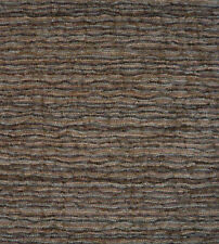 Drapery Upholstery Fabric Textured Chenille Rippling Horizontal Stripes - Gray