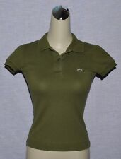 LACOSTE STRETCH SZ 34 2 XS OLIVE GREEN WOMEN'S POLO SHIRT