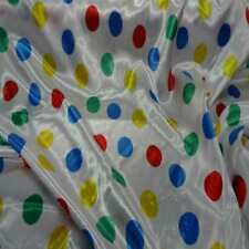 tissu satin blanc a pois vert ,bleu ,jaune ,rouge