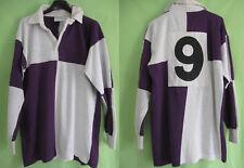 Maillot Rugby Damier violet blanc Acrylique Vintage Porté #9 Halbro Jersey - L