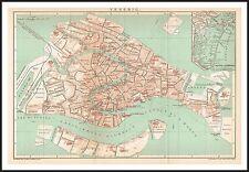 VENICE City Plan map circa 1900 Original print Italy