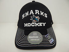 Reebok San Jose Sharks Center Ice Collection Black/White SM/MED Stretch Fit Cap