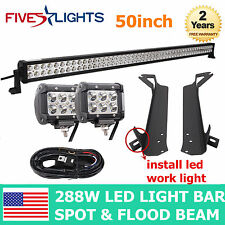 "50inch 288W LED Light Bar+97-06 Jeep Wrangler TJ LJ Mounting Bracket+4"" 18w+ Kit"