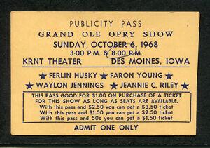 1968 Grand Ole Opry Concert Ticket Ferlin Husky Faron Young Waylon Jennings