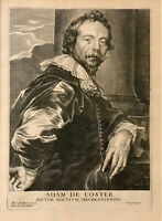 Engraving of Adam de Coster by Anton van Dyck Pieter de Jode circa 1685 Framed