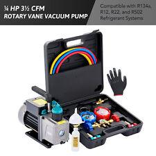 Omt 14 Hp Hvac Air Vacuum Pump Amp Ac Manifold Gauge Set For R502 R134a R22 R12