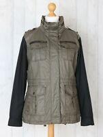 Michael Kors Women's L Grey Black Utility Biker Style Cotton Jacket Immaculate