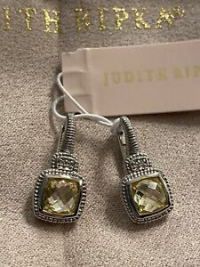 Judith Ripka Canary CZ &  White Topaz Petite Drop Earring Sterling Silver 925