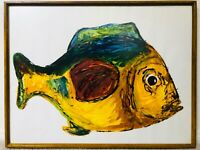 🔥 Antique Mid Century Modern Tiki Abstract Tropical Fish Oil Painting, Signed