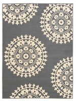 Rubber Backed Non-Skid Non-Slip Gray - Ivory Color Medallion Design Area Rug