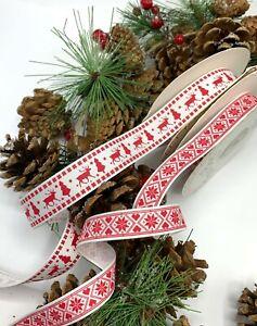 Red 5 Roll 5M Christmas Grosgrain Ribbons Bundle-Xmas Theme Ribbon Polyester Satin Ribbon Winter Holiday Fabric Ribbon for Wedding,Christmas Decorations,Gift Wrapping,Hair Band Sewing DIY Crafts