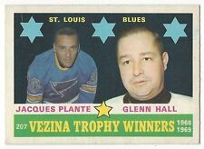 1969-70 OPC HOCKEY #207 VEZINA TROPHY WINNERS (PLANTE/HALL) - VG+/EX-